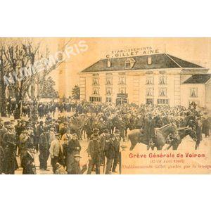 Grève générale de Voiron (17-19 avril 1906) Etablissements Gillet gardés par la troupe