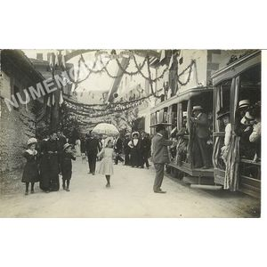 Voreppe juin 1909 - arrivée du tramway