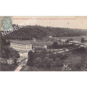 St-Blaise-du-Buis (Isère) usines de tissage de soie, à la Ravignhouse et vue des Quatre Chemins