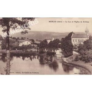 Merlas (Isère) le lac et l'église de St-Sixte