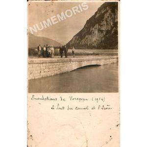 Inondations de Voreppe (1914) le pont du canal et l'Isère