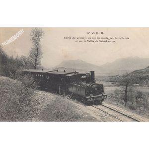 Cie VSB sortie du Crossey, vue sur les montagnes de la Savoie et sur la vallée de Saint-Laurent